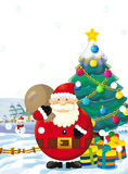 Cartoon santa claus with presents standing and smiling - gifts - happy snowman - christmas tree - christmas tree Stock Image