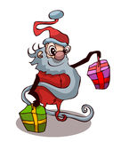 Cartoon Santa Claus with Presents. Royalty Free Stock Photography