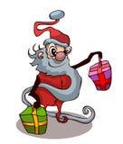 Cartoon Santa Claus with Presents. Royalty Free Stock Photography
