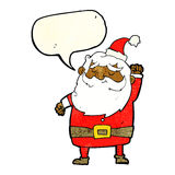 Cartoon santa claus punching air with speech bubble Royalty Free Stock Photo