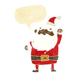 Cartoon santa claus punching air with speech bubble Stock Images