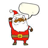 Cartoon santa claus punching air with speech bubble Stock Photo