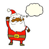 Cartoon santa claus punching air with thought bubble Royalty Free Stock Images