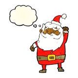 Cartoon santa claus punching air with thought bubble Royalty Free Stock Photography