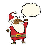 Cartoon santa claus punching air with thought bubble Royalty Free Stock Photos