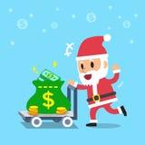 Cartoon santa claus pushing money trolley Stock Photography