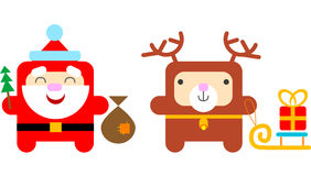 Cartoon Santa Claus and Reindeer Royalty Free Stock Photography