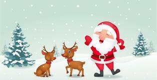 Cartoon Santa Claus and reindeer Stock Image