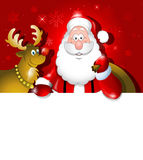 Cartoon Santa Claus and Reindeer over white board Stock Photography