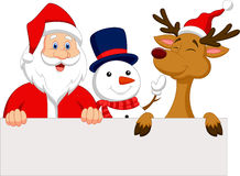 Cartoon Santa Claus, reindeer and snowman with blank sign Stock Image