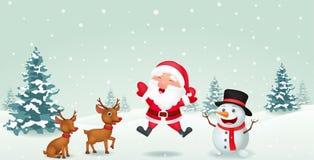 Cartoon Santa Claus, reindeer and snowman Stock Photos