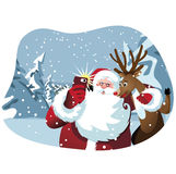Cartoon Santa Claus and reindeer take a selfie Stock Images