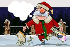 Cartoon santa claus with a replica and with bags full of money on a winter night Stock Images