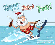 Cartoon Santa Claus  rides on the sea surface on  water skis Royalty Free Stock Photography