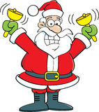 Cartoon Santa Claus ringing bells. Royalty Free Stock Photos