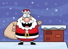 Cartoon Santa Claus Rooftop Stock Photo