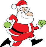Cartoon Santa Claus running Royalty Free Stock Images