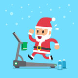 Cartoon santa claus running on treadmill Royalty Free Stock Images