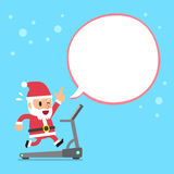 Cartoon santa claus running on treadmill with white speech bubble Stock Image