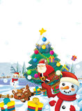 Cartoon santa claus with the sack full of presents - gifts - happy reindeer snowman and - christmas tree Royalty Free Stock Images