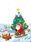 Cartoon santa claus with the sack full of presents - sliding down with reindeer - gifts - happy snowman Stock Image