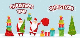 Cartoon Santa Claus set. Funny happy Santa character with christmas tree, pile of gifts, bag with presents, glad, waving royalty free illustration