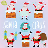Cartoon Santa Claus set for Merry Christmas design Royalty Free Stock Images