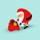Cartoon Santa Claus sitting on a chair and read a long letter. Vector illustration Stock Photo