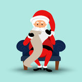 Cartoon Santa Claus sitting on a chair and read a long letter. Vector illustration Stock Photography