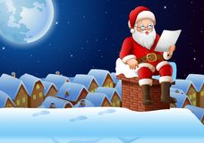 Cartoon Santa Claus sitting at chimney and reading a letter vector illustration