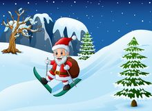 Cartoon santa claus skiing with sack of gifts on snow downhill stock illustration