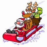 Cartoon Santa Claus on sled. Cartoon caricature Santa Claus with Rudolph the Red Nose Reindeer riding red sled with bag of gifts Royalty Free Stock Image