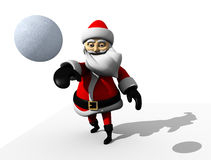 Cartoon Santa claus snowball. Cartoon Santa claus isolated with white background throwing a snow ball Stock Photo