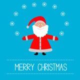 Cartoon Santa Claus and snowflakes. Merry Christma Stock Photos
