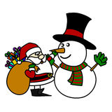 Cartoon Santa Claus and snowman hand writing. Royalty Free Stock Photography