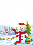 Cartoon santa claus snowman with presents standing and smiling - gifts - happy snowman - christmas tree Stock Images