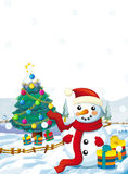 Cartoon santa claus snowman with presents standing and smiling - gifts - happy snowman - christmas tree Stock Photos