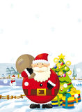 Cartoon santa claus standing with the sack full of presents and smiling - christmas tree - happy reindeer Stock Photos