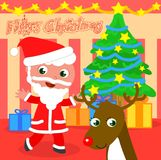 Cartoon Santa Claus with tree and reindeer Stock Images