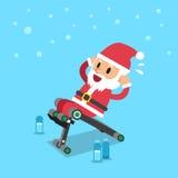 Cartoon santa claus using sit up bench Royalty Free Stock Images