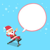 Cartoon santa claus using sit up bench with speech bubble Royalty Free Stock Photography