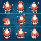 Cartoon Santa Claus in various poses collection. Cheerful Father Frost character  run, sit, ski, skate, laugh, smile, show thumb up, dance, with hands up Royalty Free Stock Image