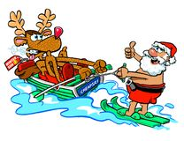 Cartoon Santa Claus water skiing  Royalty Free Stock Photography