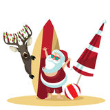 Cartoon Santa Claus waves hello from the beach Stock Images