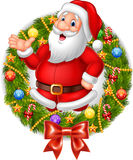 Cartoon santa claus waving hand with Christmas wreath Royalty Free Stock Images
