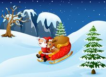 Cartoon santa clause and a reindeer riding on a sleigh with sack of gifts in snow downhill Stock Images