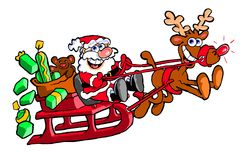 Cartoon Santa Clause on sled Royalty Free Stock Image