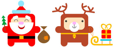 Cartoon santa and deer Stock Photography