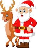 Cartoon santa and deer posing Stock Image