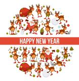 2018 cartoon Santa and deer poster or greeting card design template for Christmas and New Year. Vector reindeer funny character icons celebrating holidays in Stock Images